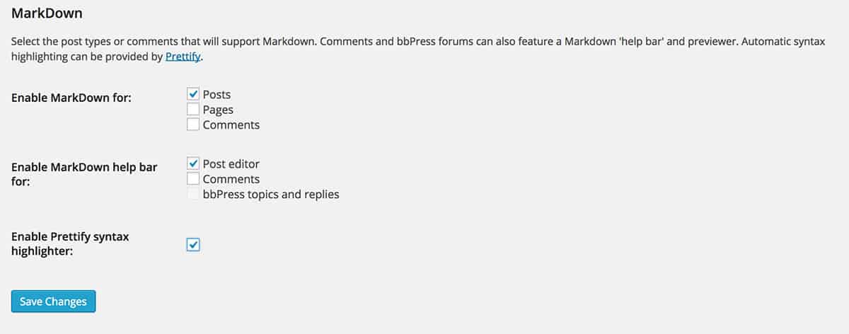 WP Markdown settings page