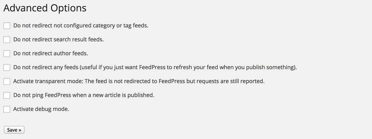 FeedPress advanced options