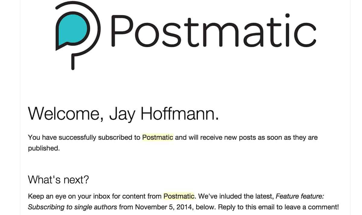 Postmatic plugin email subscription