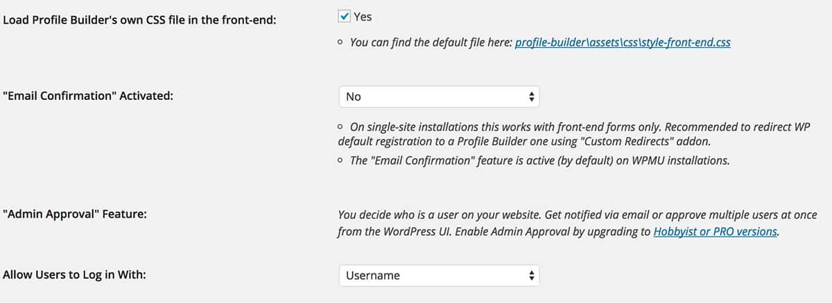 Profile Builder plugin settings page