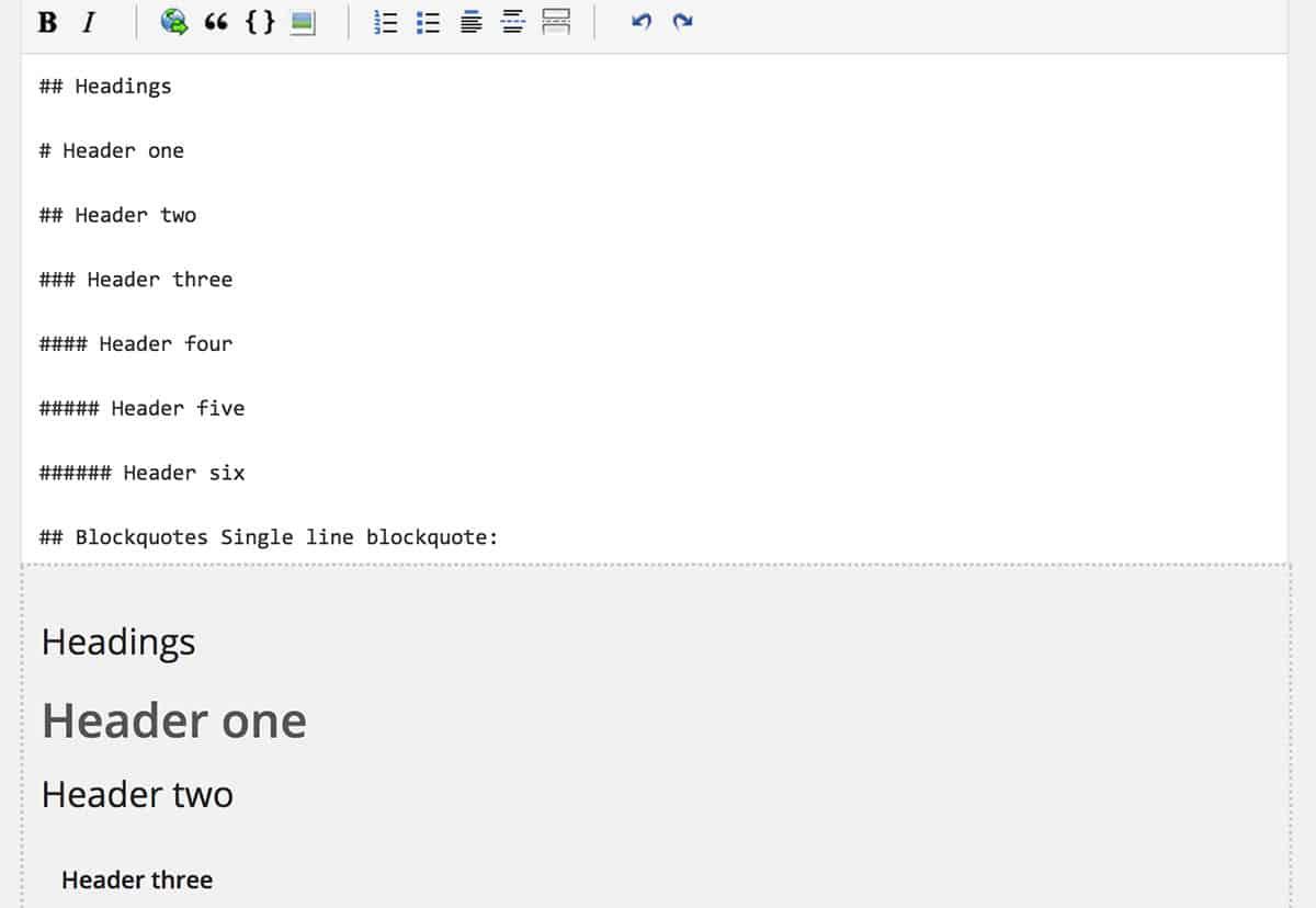 WP Markdown plugin help bar