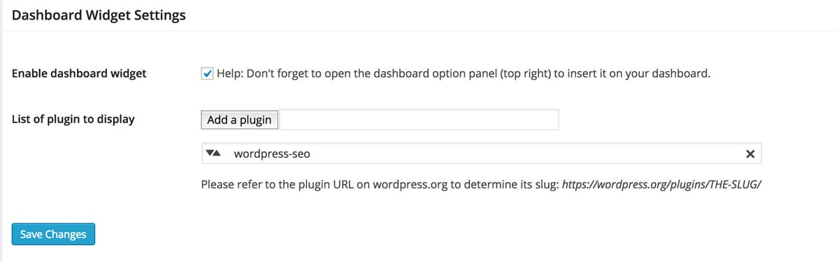 WP Plugin Info Card settings