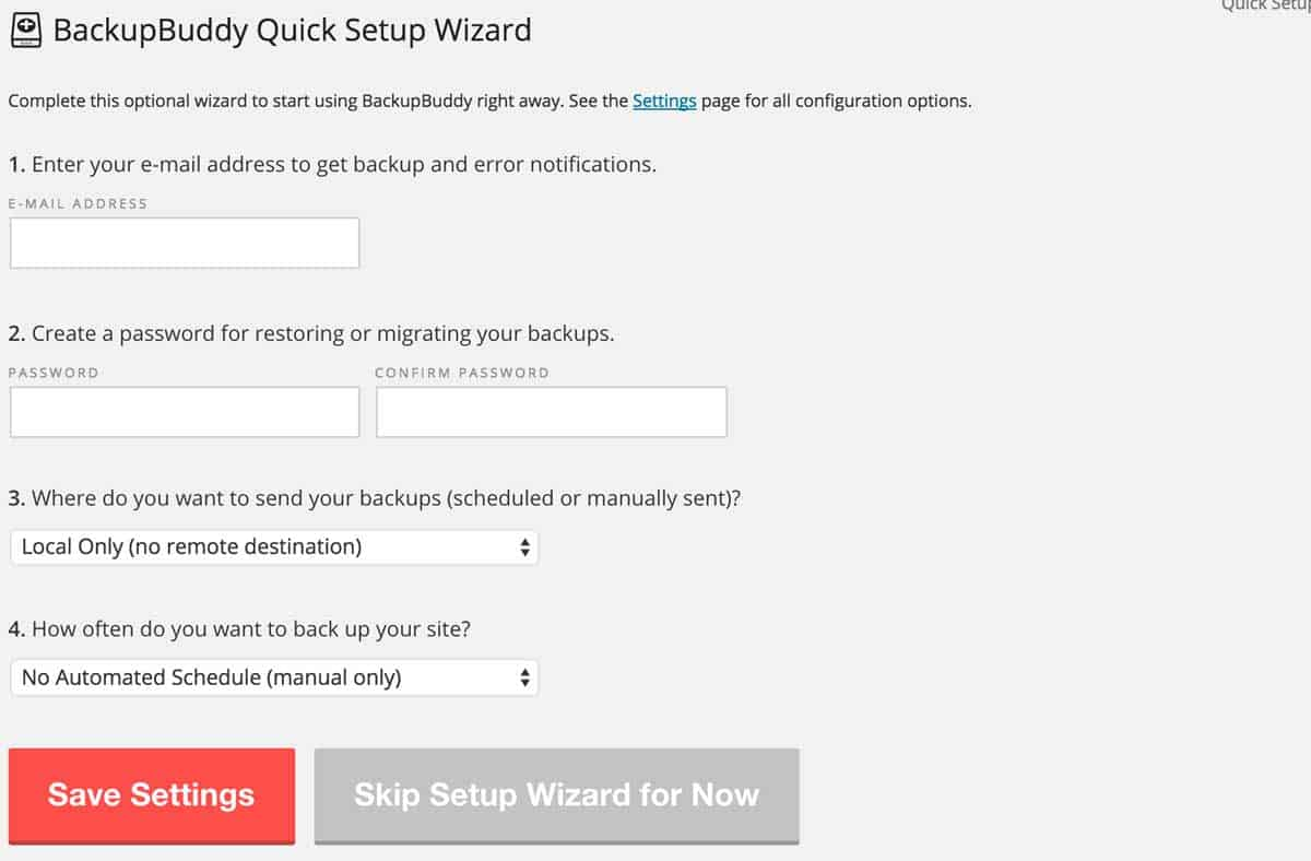 BackupBuddy Site Wizard