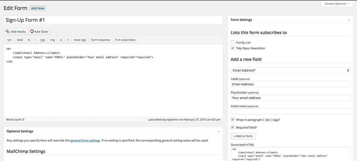 How to customize MailChimp sign-ups
