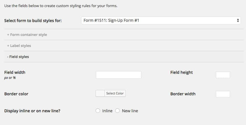CSS stylebuilder - MailChimp for WordPress