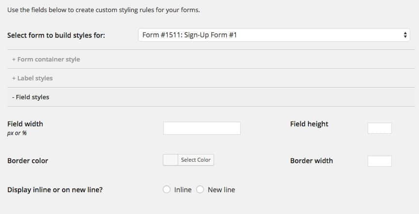 CSS stylebuilder - MailChimp for WordPress