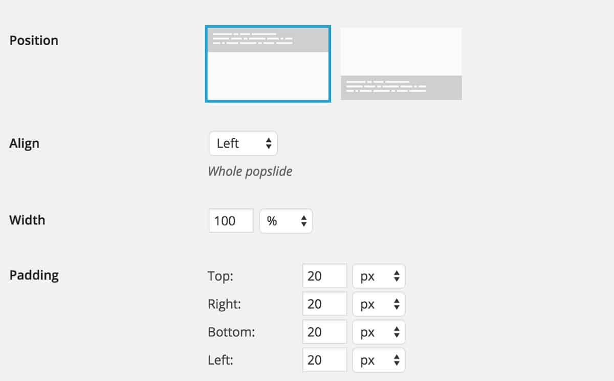 Popslide CSS and style settings