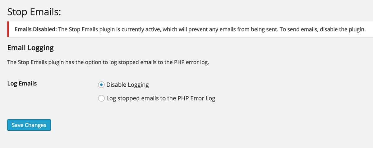 Stop Emails plugin settings
