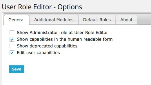 User Role Editor admin settings