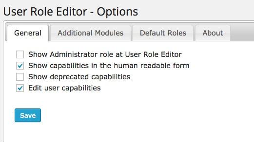 User Role Editor admin settings