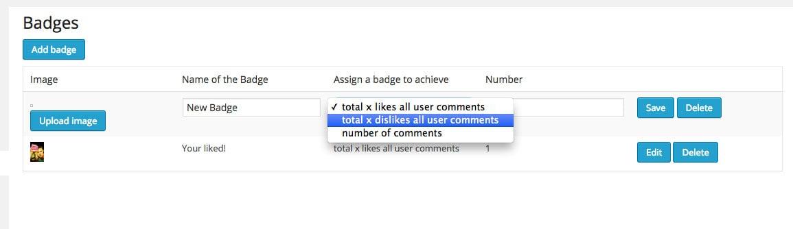 de:comments badges settings