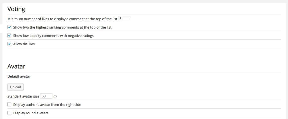 de:comments settings
