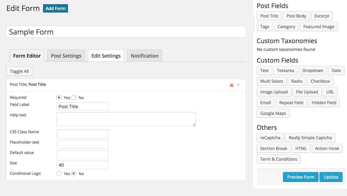 WP User Frontend Pro Form Builder