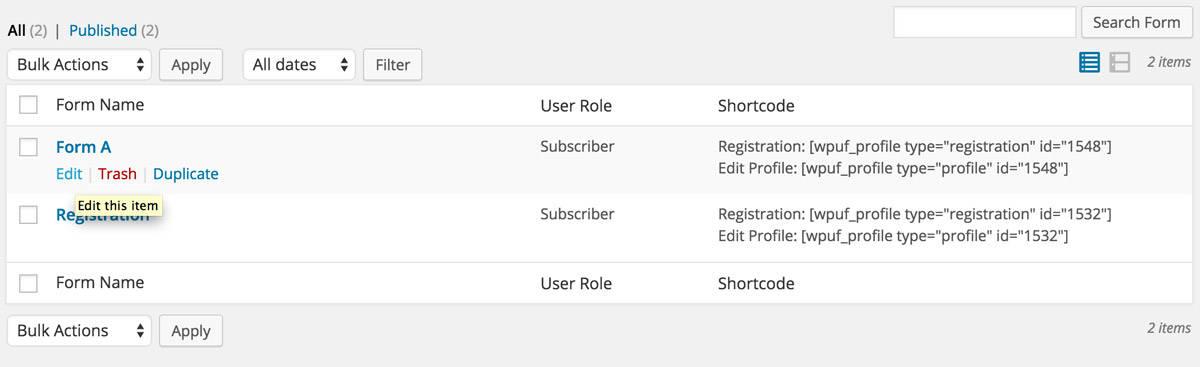 WP User Frontend Pro Registration section