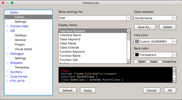 Codelobster IDE preferences