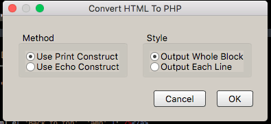 Codelobster IDE convert HTML to PHP