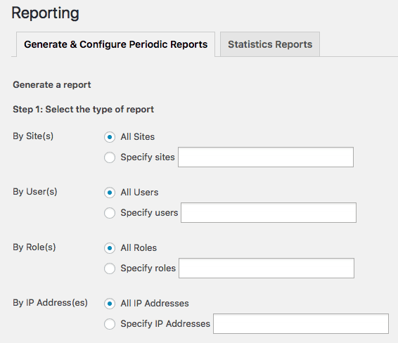 Report Generation Options in WordPress Dashboard