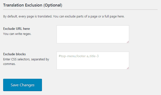 Translation Exclusion