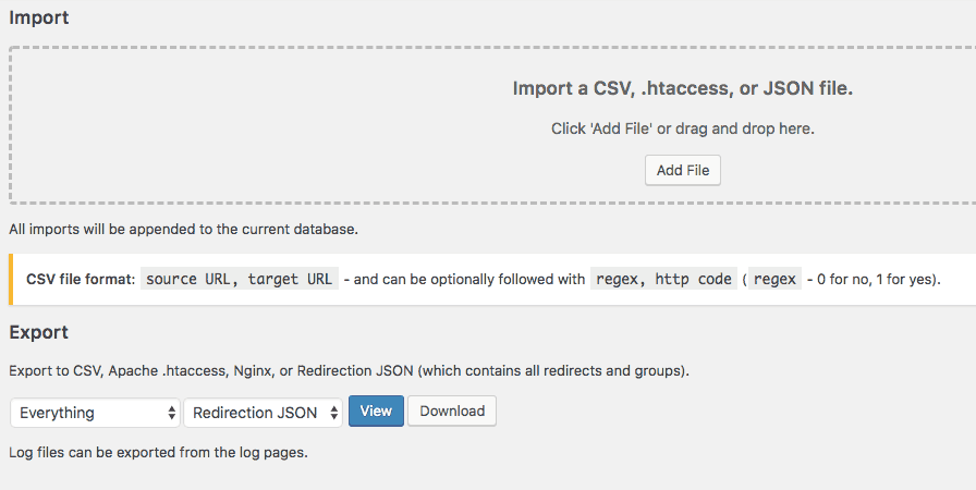 Import your redirections easily