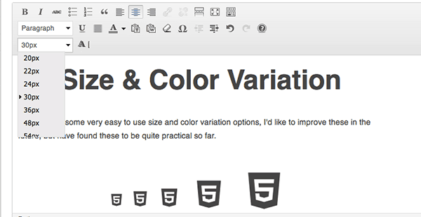 Visual Icon Fonts size and color variation