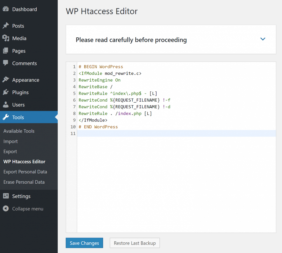 Htaccess Editor for WordPress