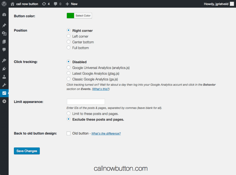 Call Now Button for WordPress settings