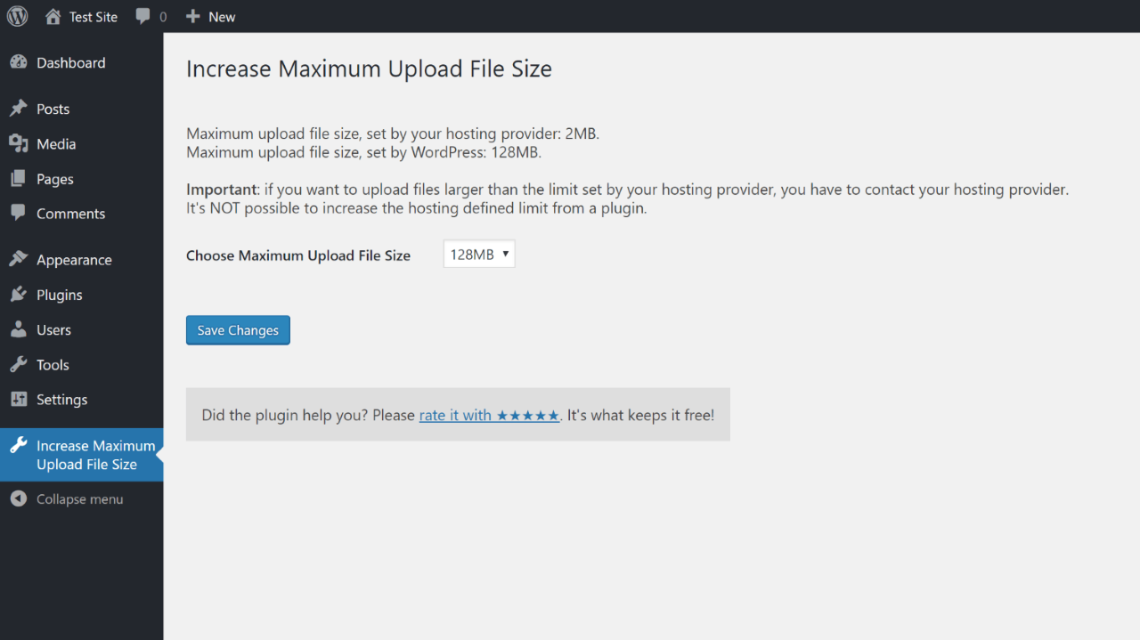 Increase Maximum Upload Size Screenshot