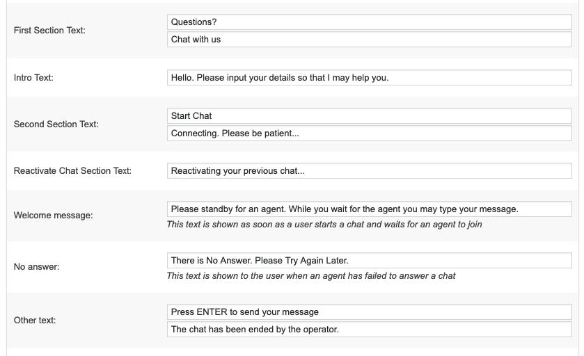 Customize texts