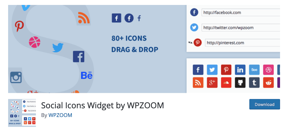 Social Icons Widget by WP Zoom