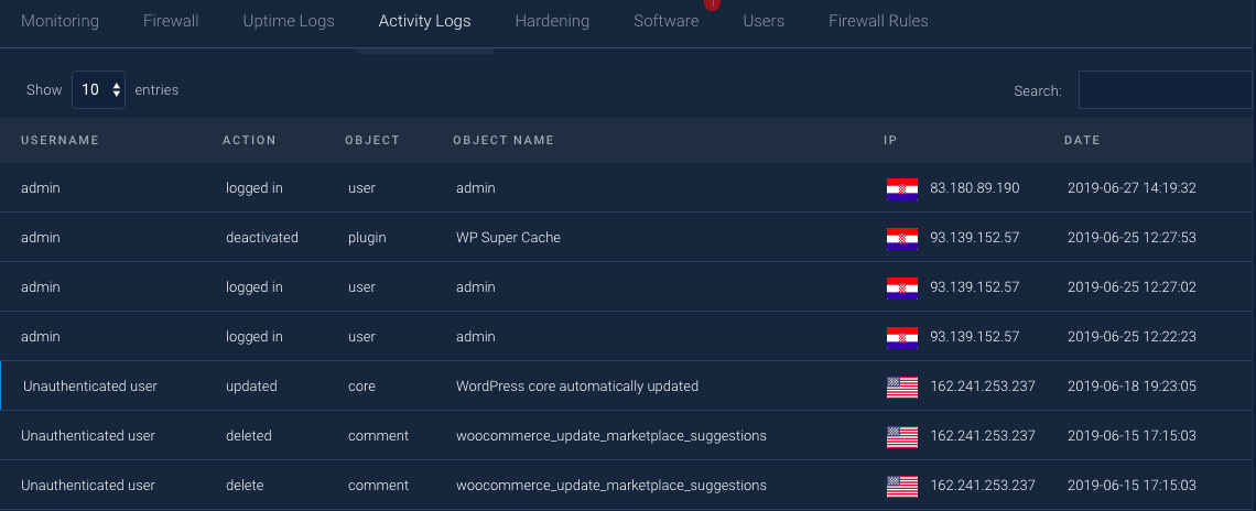 WebARX Activity logs