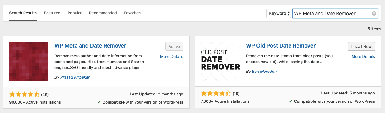 Add WP Meta and Date plugin