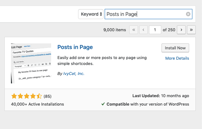 Posts in Page install