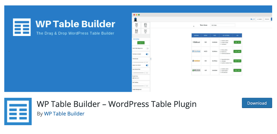 WP Table Builder Banner