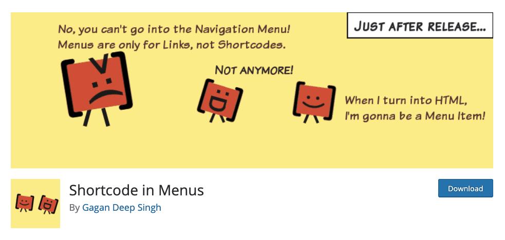 Shortcodes in menus