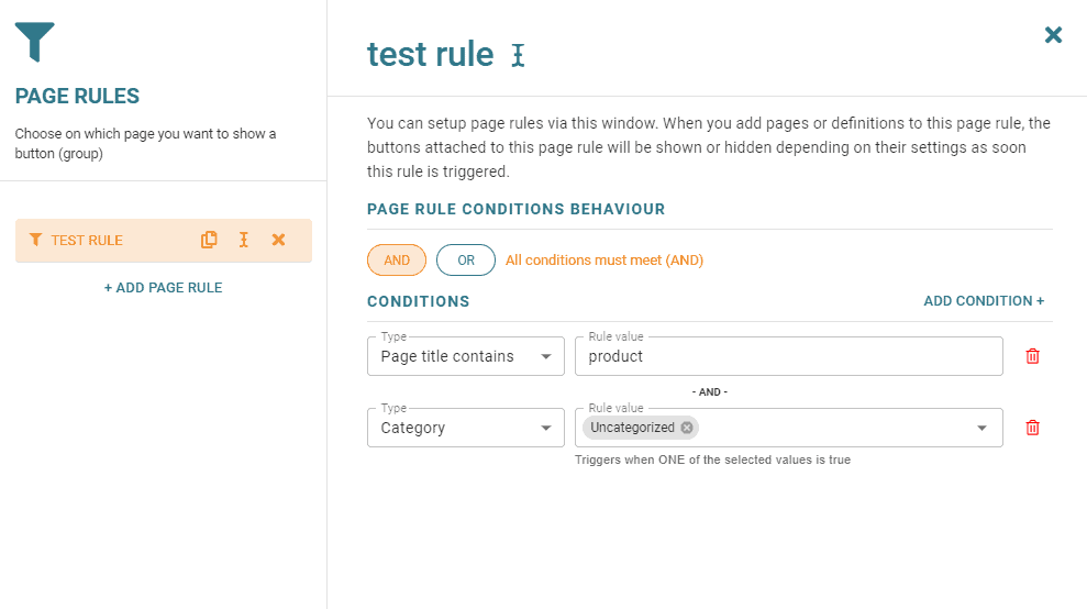 Page rules option