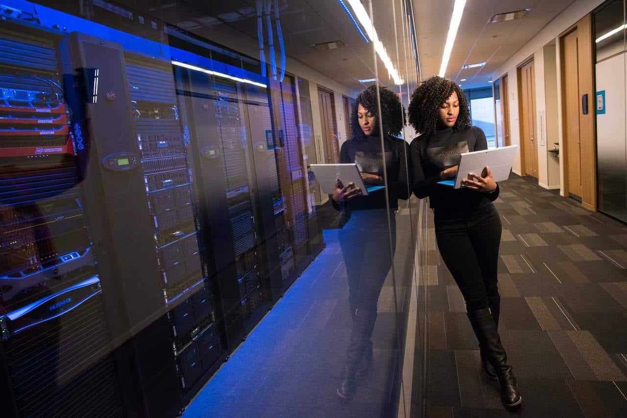 Woman checking servers
