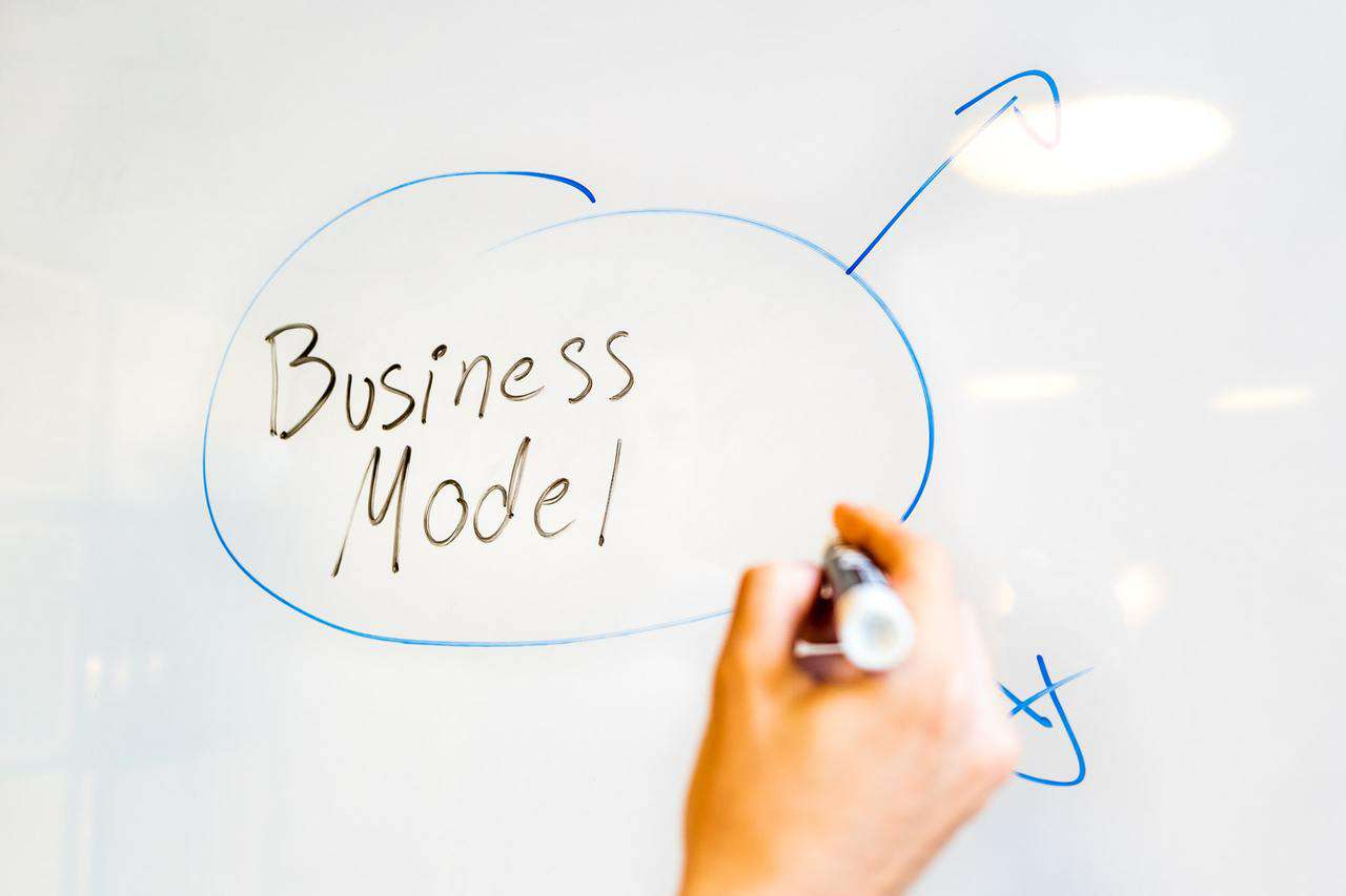 Business model written on whiteboard