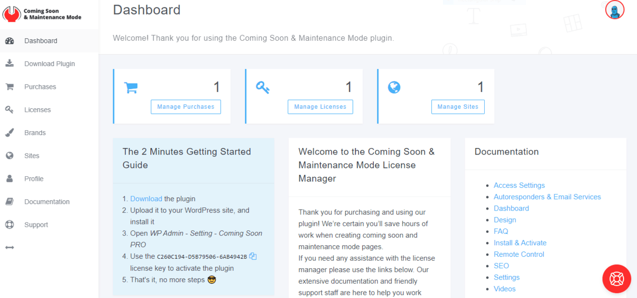 Coming Soon & Maintenance Mode dashboard