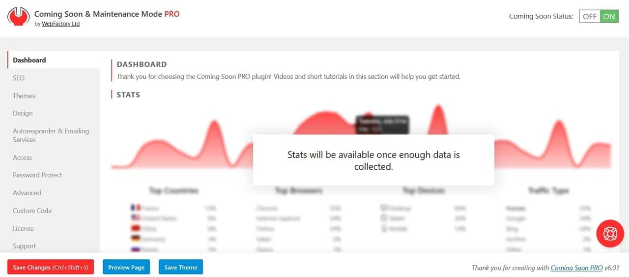 Coming Soon & Maintenance Mode WP dashboard