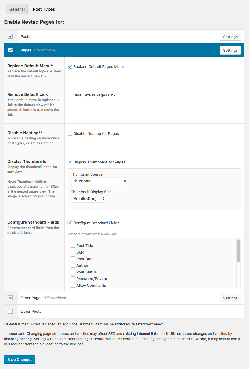 Nested pages settings