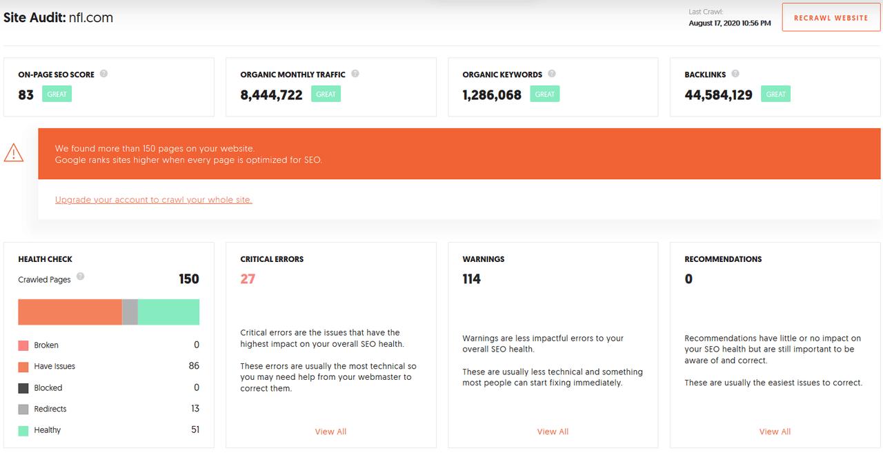 Ubersuggest site audit