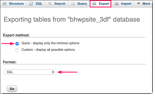 Exporting tables