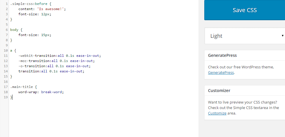 Simple CSS light