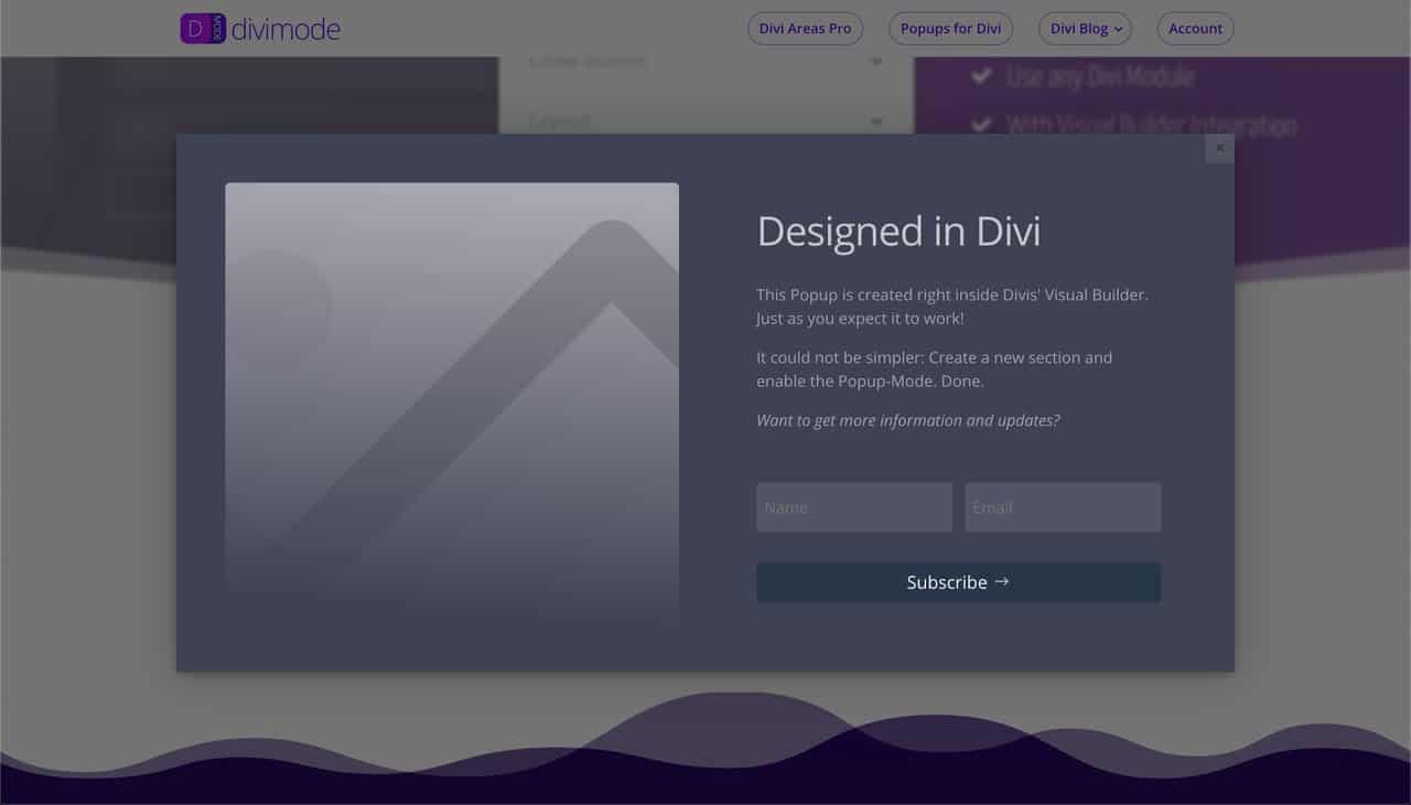 Final popup designed in Divi