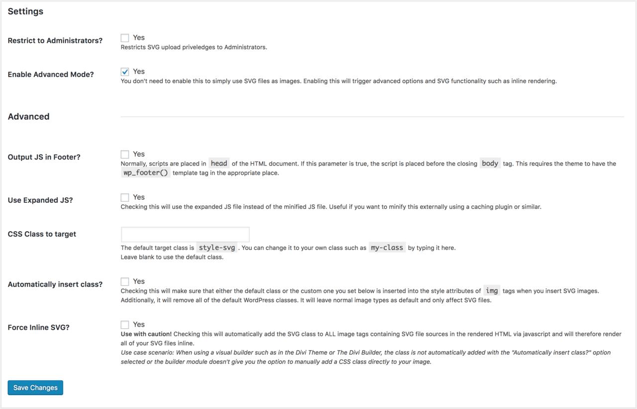 SVG Support plugin advanced settings