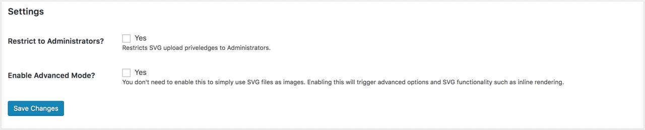 SVG Support plugin basic settings
