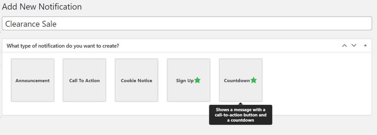 FooBar add new notification option