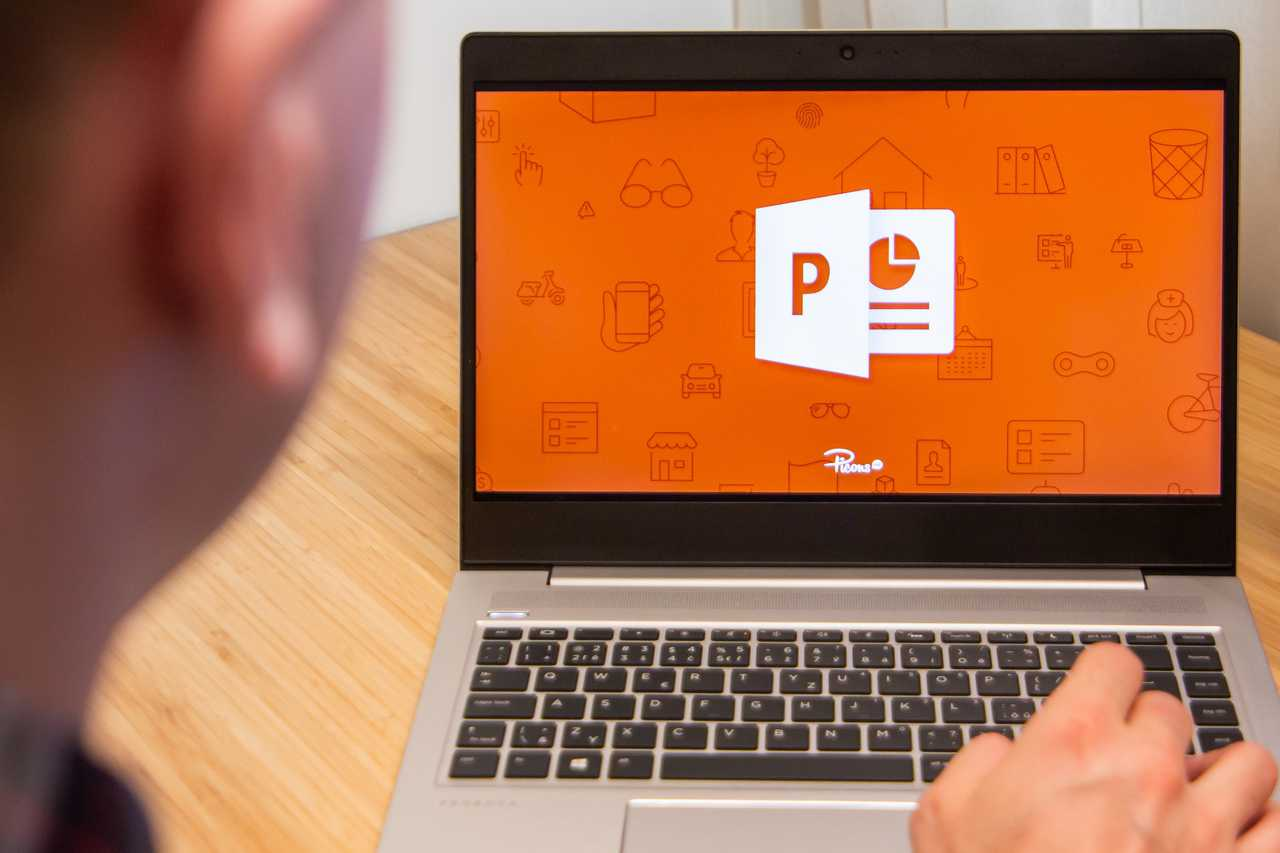 Person using PowerPoint