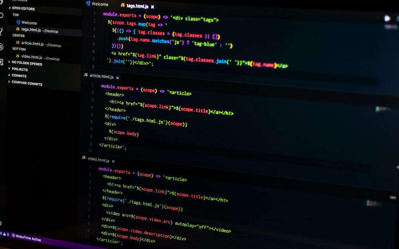 Source code on desktop