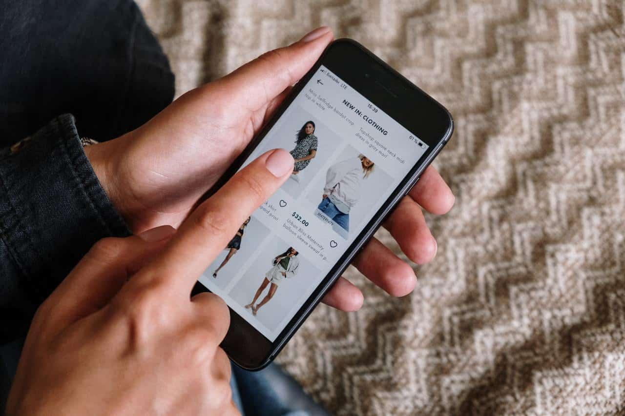 Woman shopping using mobile app